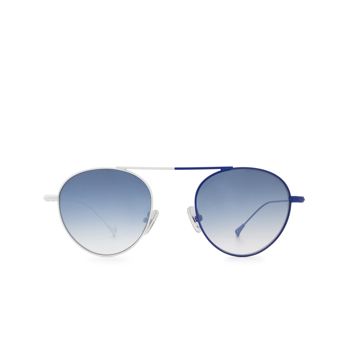 Eyepetizer® Round Sunglasses: En Bossa color White & Blue C.19-12F - front view.