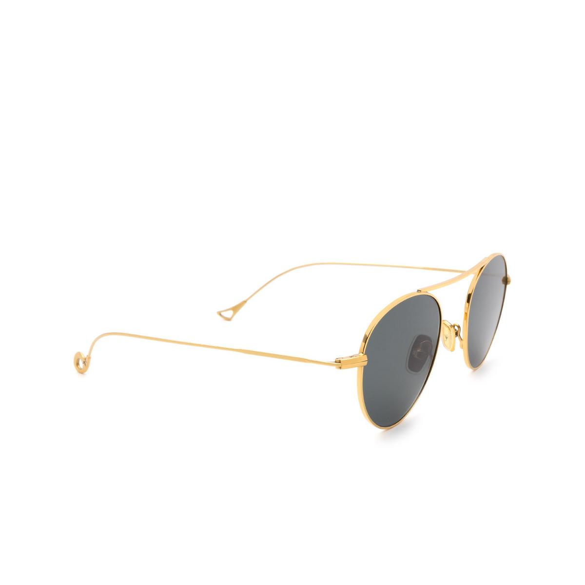 Eyepetizer® Round Sunglasses: En Bossa color Gold C.4-40 - three-quarters view.