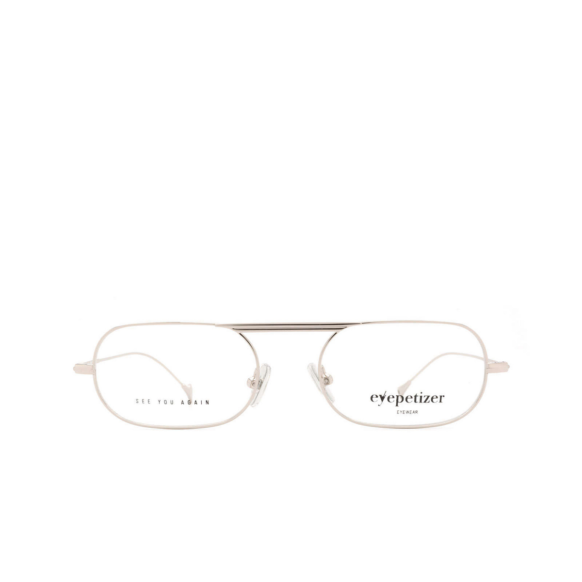 Eyepetizer® Oval Eyeglasses: Eric color Silver C.1 - front view.