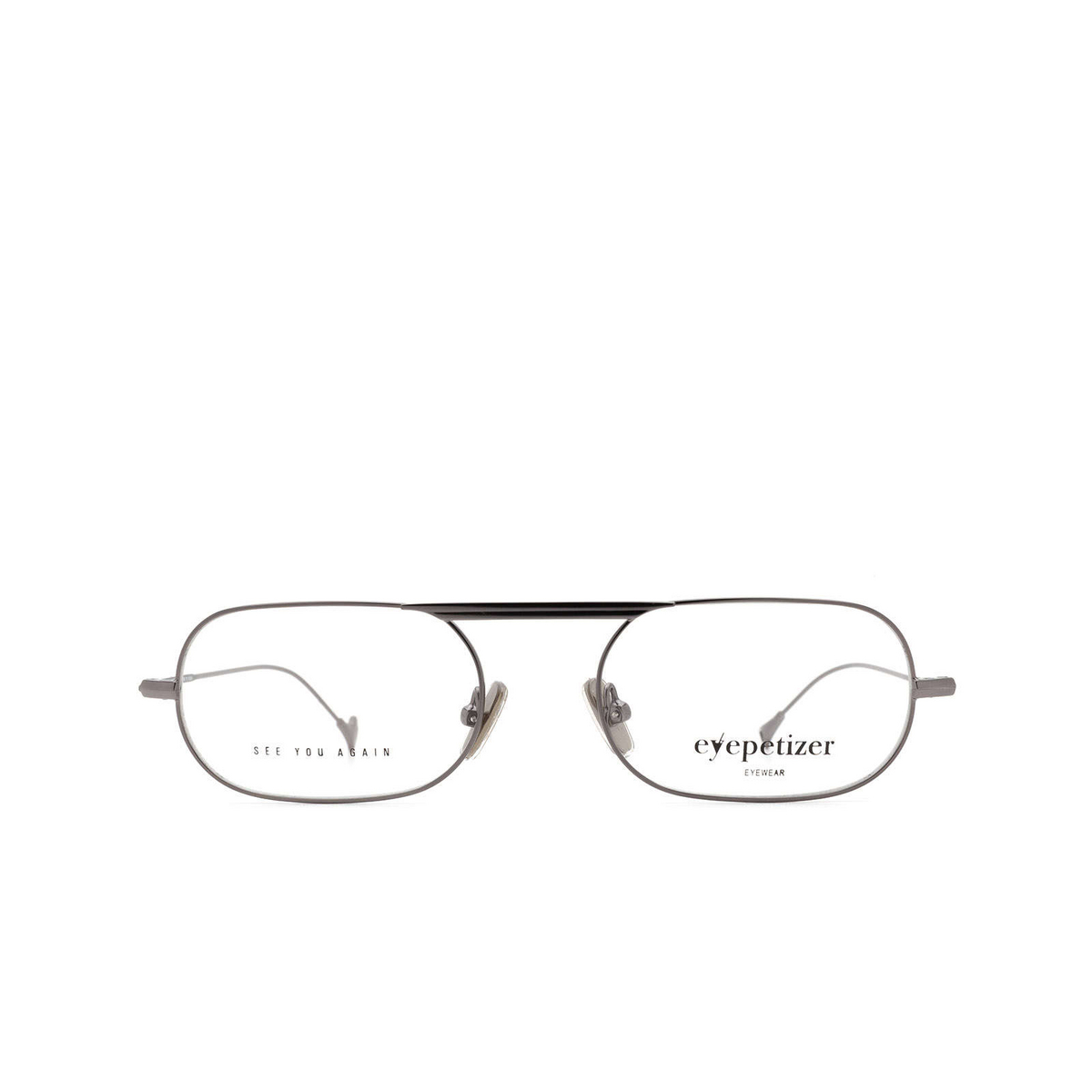 Eyepetizer® Oval Eyeglasses: Eric color Gun C.3 - front view.