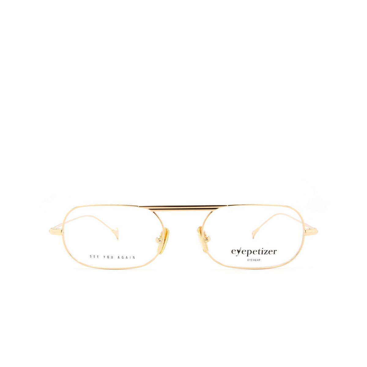 Eyepetizer® Oval Eyeglasses: Eric color Gold C.4 - front view.