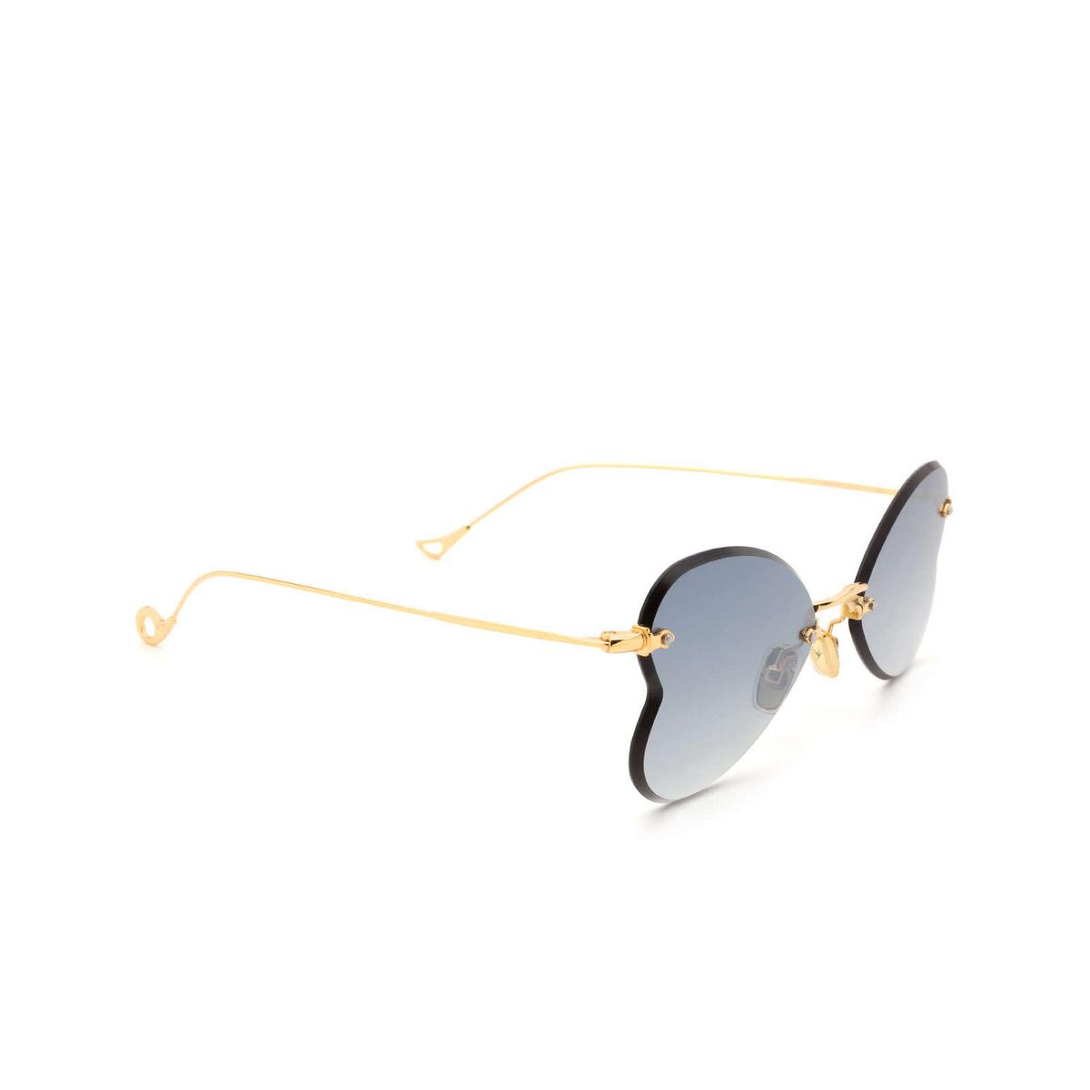 Eyepetizer® Irregular Sunglasses: Greta color Gold C.4-25F - three-quarters view.