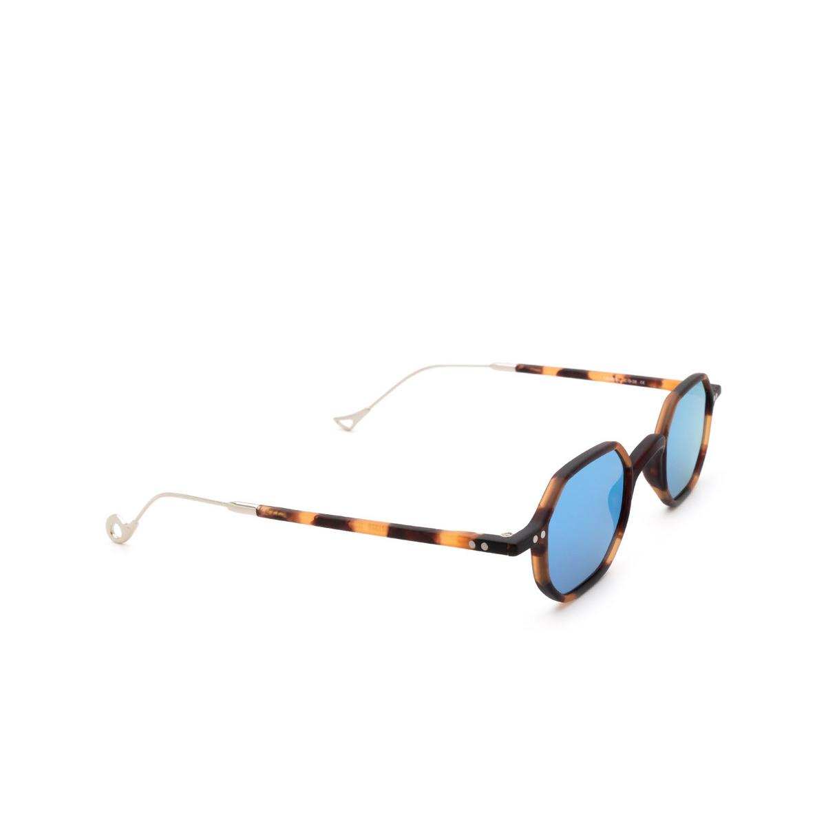 Eyepetizer® Irregular Sunglasses: Lauren color Matte Dark Havana C.G-38 - three-quarters view.