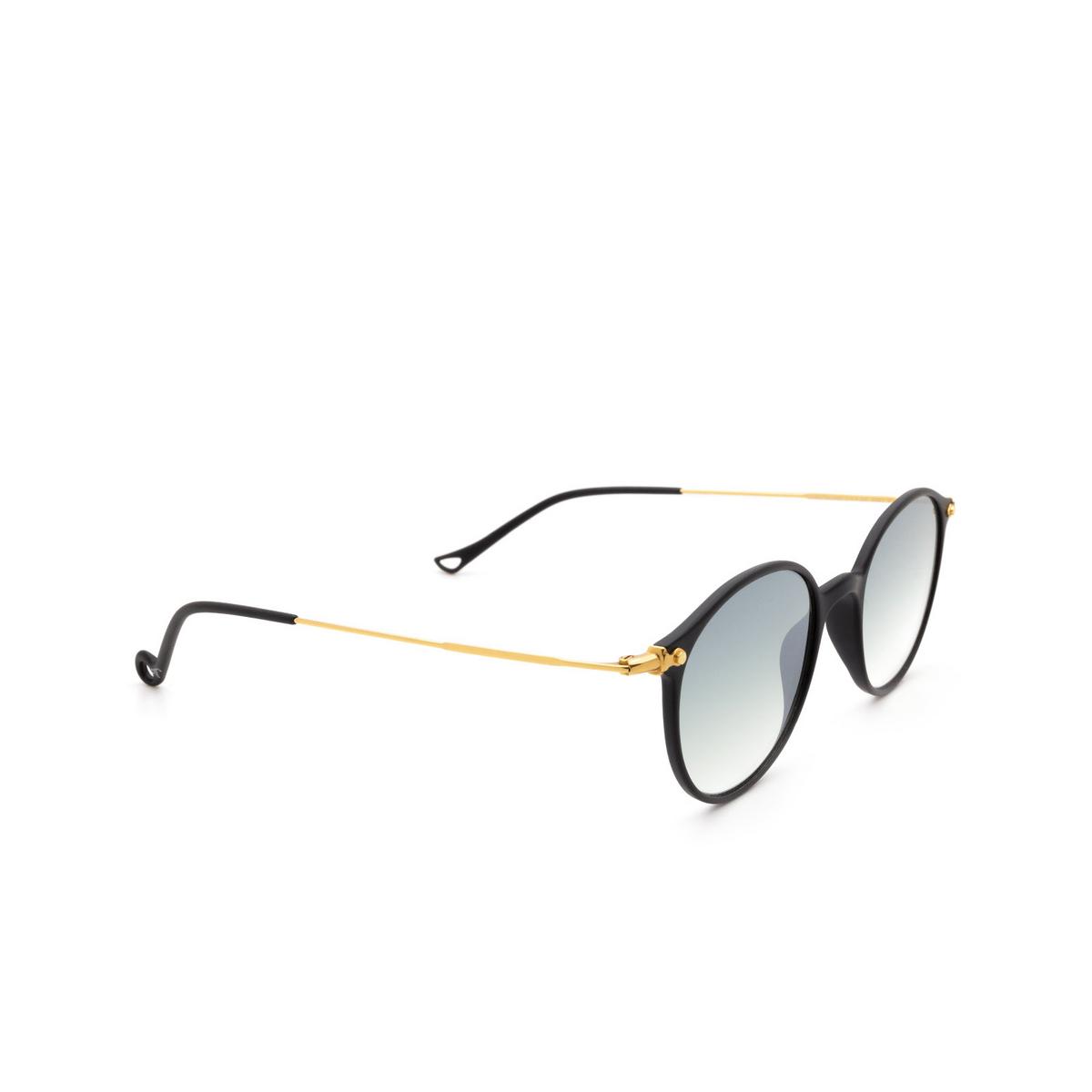 Eyepetizer® Round Sunglasses: Longisland color Black C.A-4-25F - three-quarters view.