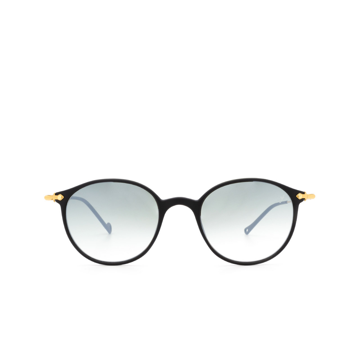 Eyepetizer® Round Sunglasses: Longisland color Black C.A-4-25F - front view.
