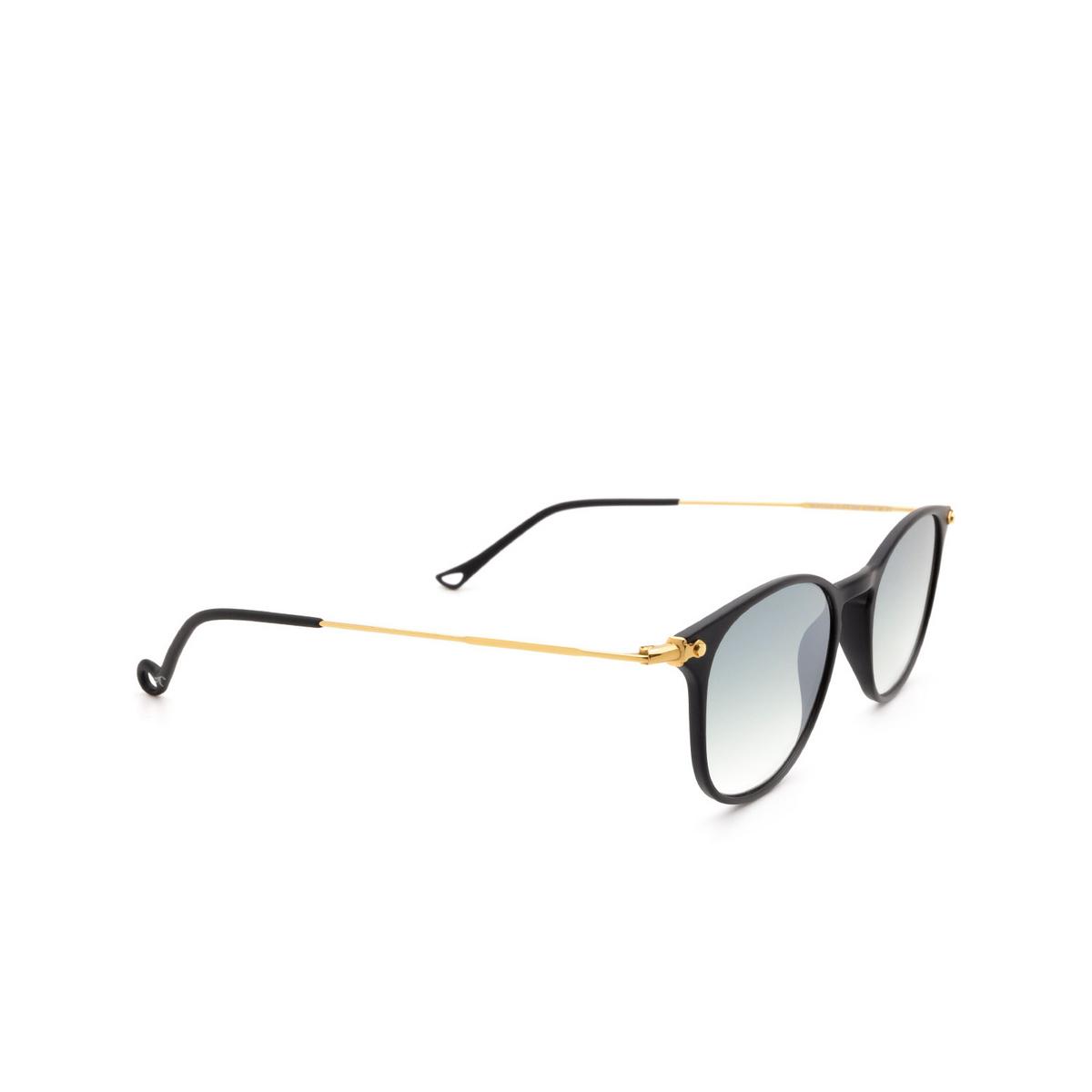 Eyepetizer® Square Sunglasses: Montauk color Black C.A-4-25F - three-quarters view.