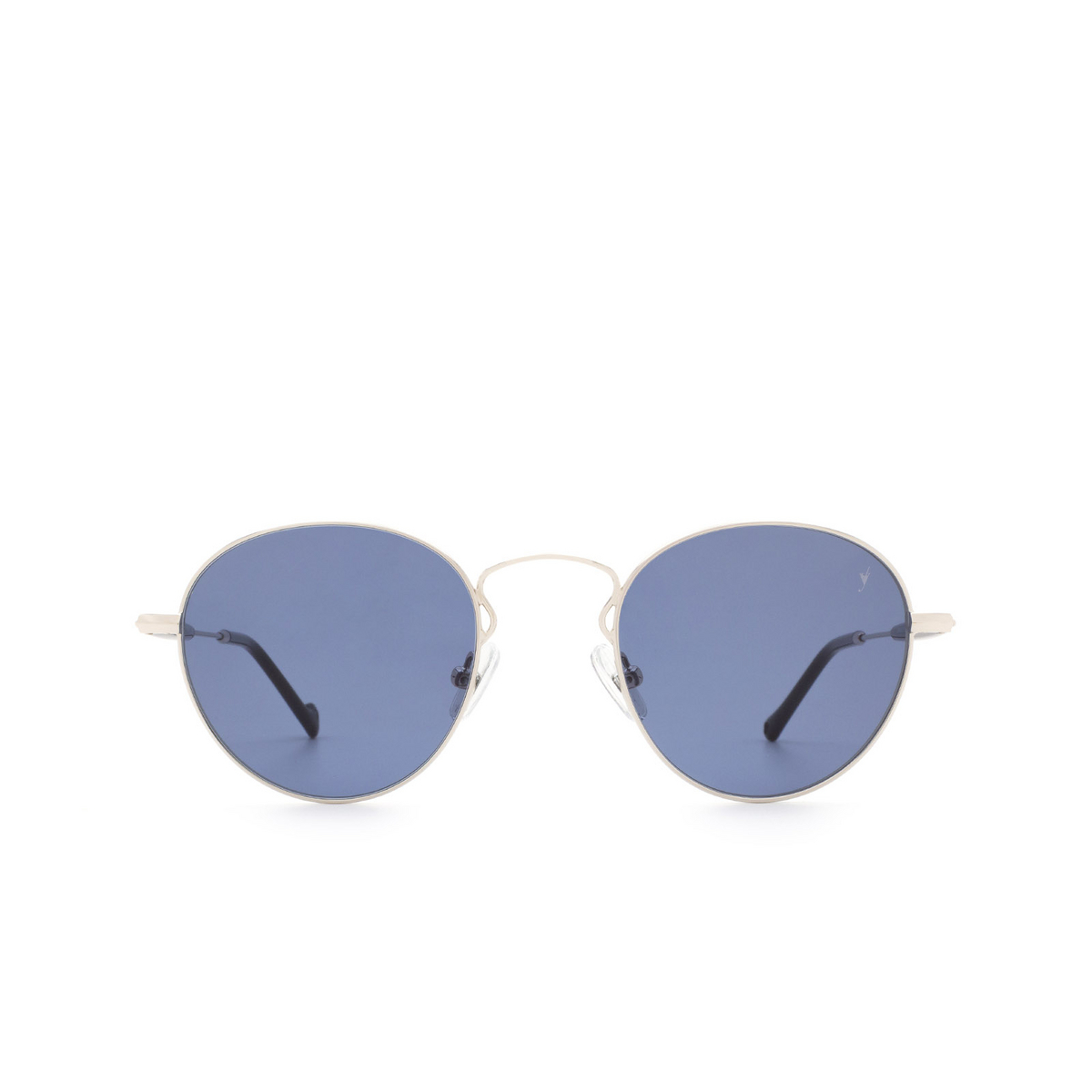 Eyepetizer® Round Sunglasses: Orangerie color Silver C.1-A-39 - front view.