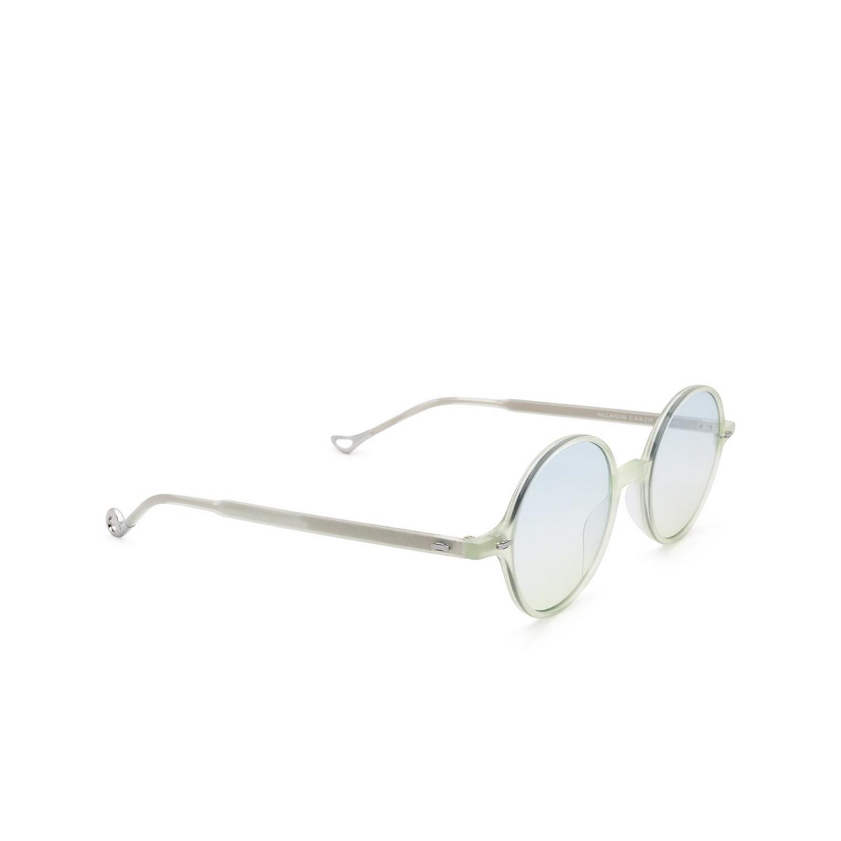 Eyepetizer® Round Sunglasses: Pallavicini color Green Aqua Marine C.A/A-23F - three-quarters view.