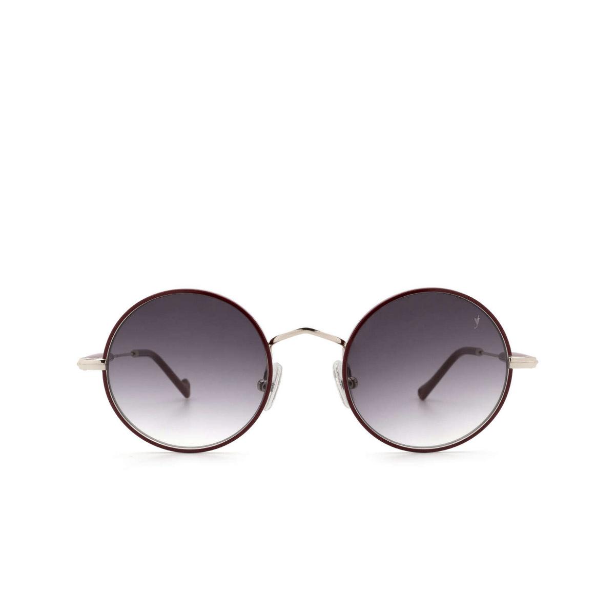 Eyepetizer® Round Sunglasses: Quatre color Bordeaux C.1-C-P-27 - front view.