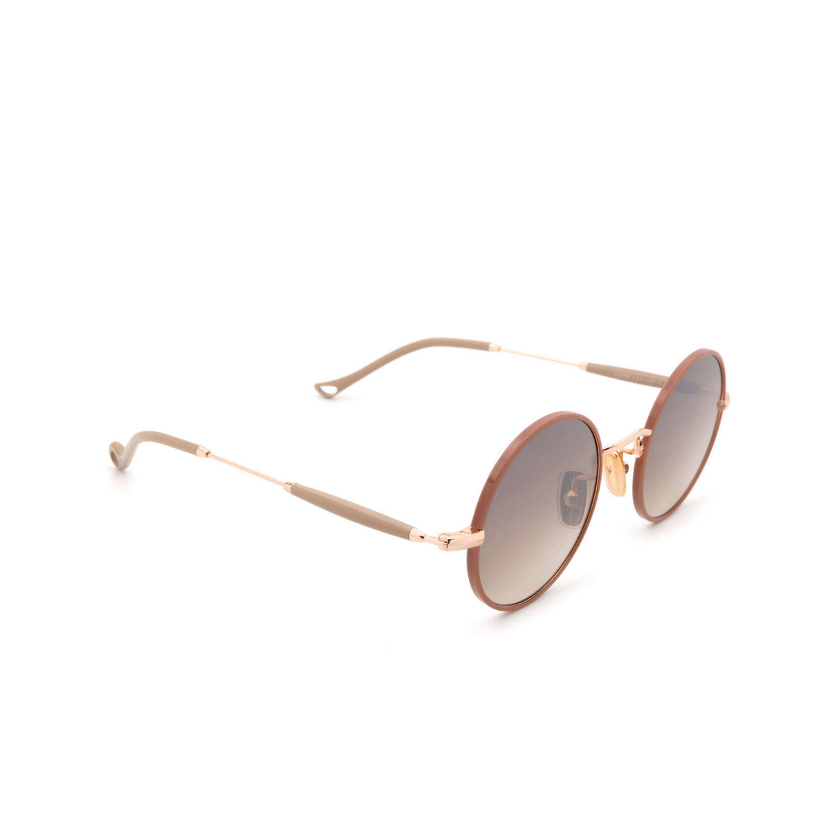 Eyepetizer® Round Sunglasses: Quatre color Pinkish Brown C.9-E-J-18F - three-quarters view.