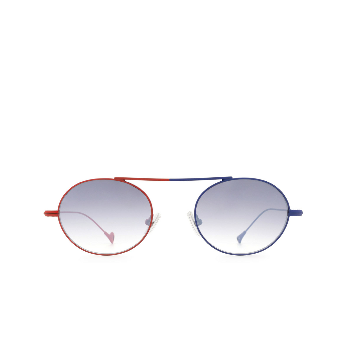 Eyepetizer® Oval Sunglasses: S.eularia color Red & Blue C.18-27F - front view.