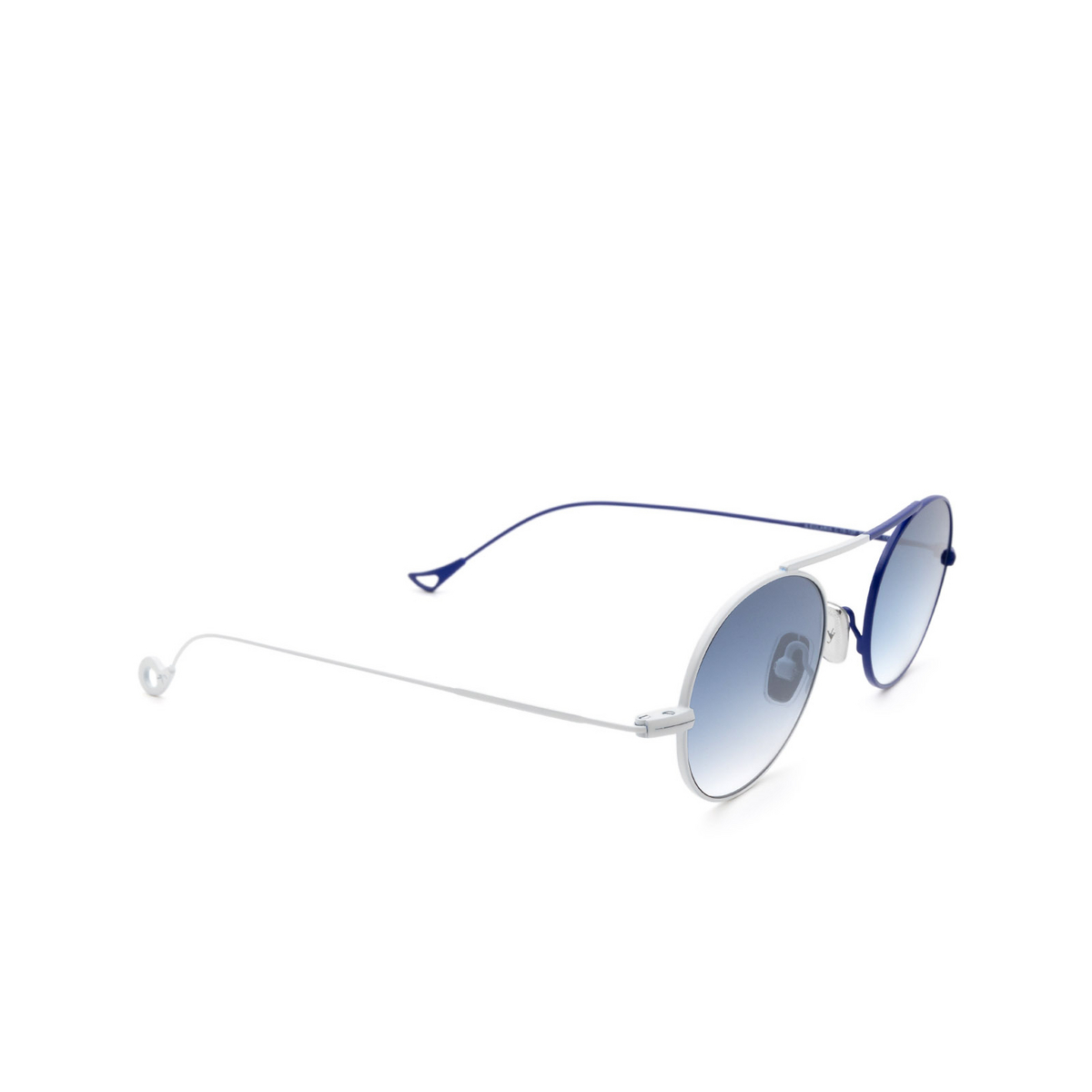 Eyepetizer® Oval Sunglasses: S.eularia color White & Blue C.19-12F - three-quarters view.