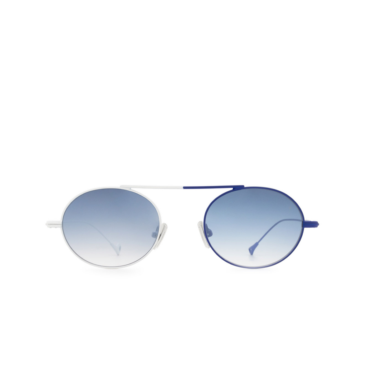 Eyepetizer® Oval Sunglasses: S.eularia color White & Blue C.19-12F - front view.