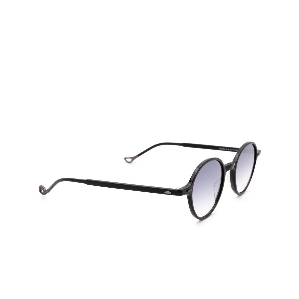 Eyepetizer® Round Sunglasses: Sforza color Black C.A-27F - three-quarters view.