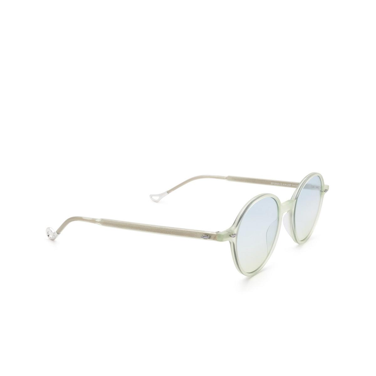 Eyepetizer® Round Sunglasses: Sforza color Green Aquamarine C.A/A-23F - three-quarters view.