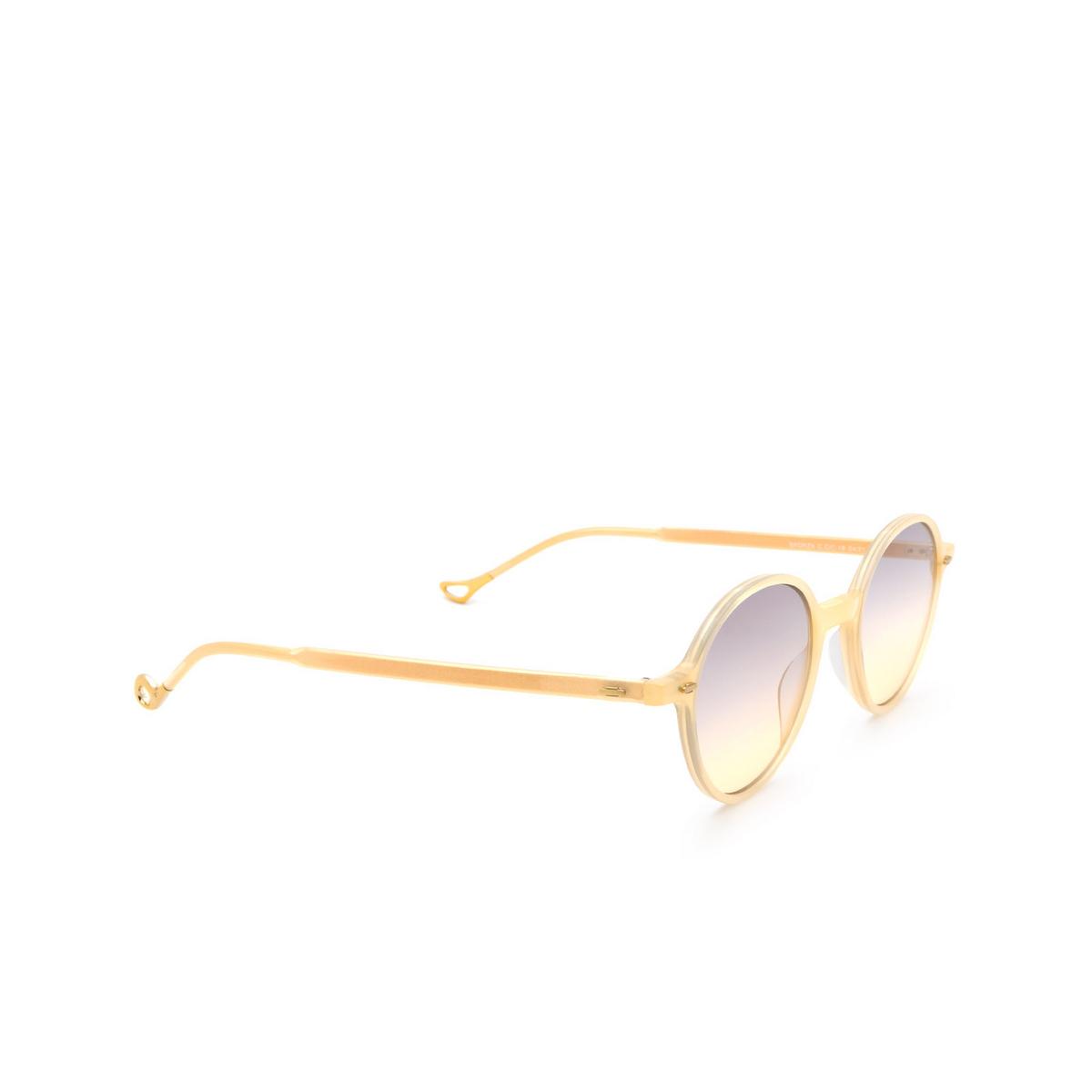 Eyepetizer® Round Sunglasses: Sforza color Honey C.C/C-19 - three-quarters view.