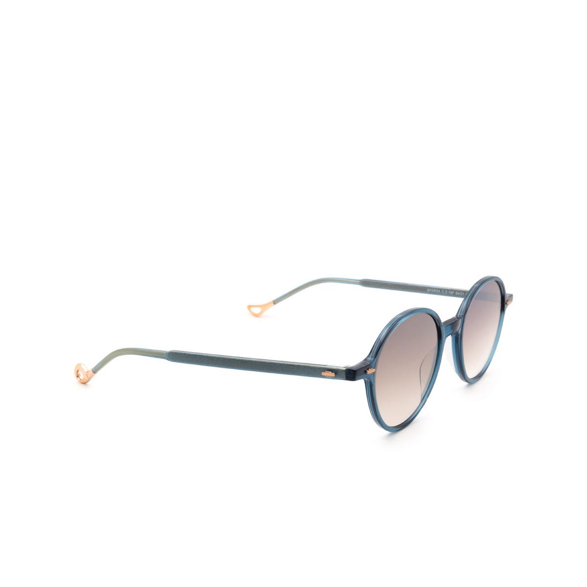 Eyepetizer® Round Sunglasses: Sforza color Blue C.Z-18F - three-quarters view.