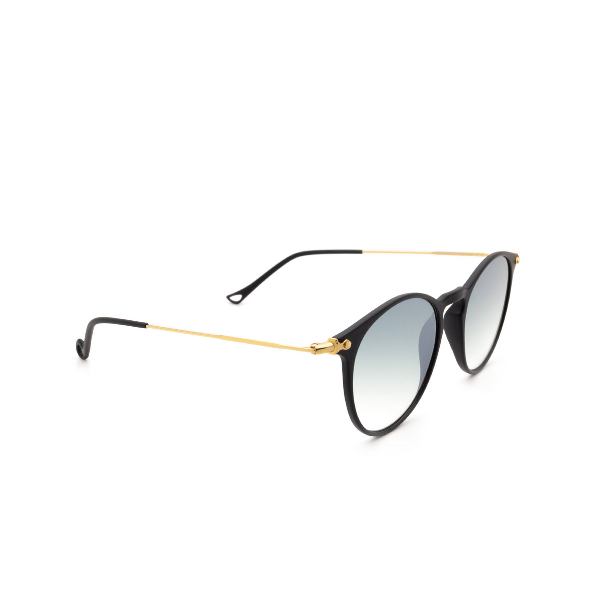 Eyepetizer® Round Sunglasses: Springs color Black C.A-4-25F - three-quarters view.