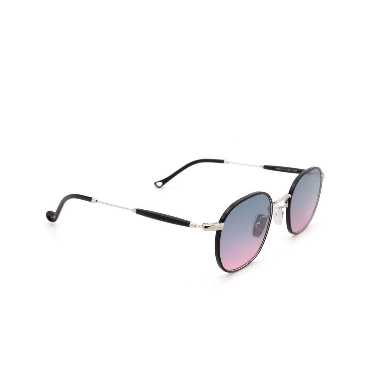 Eyepetizer® Square Sunglasses: Trois color Black C.1-F-A-20 - three-quarters view.