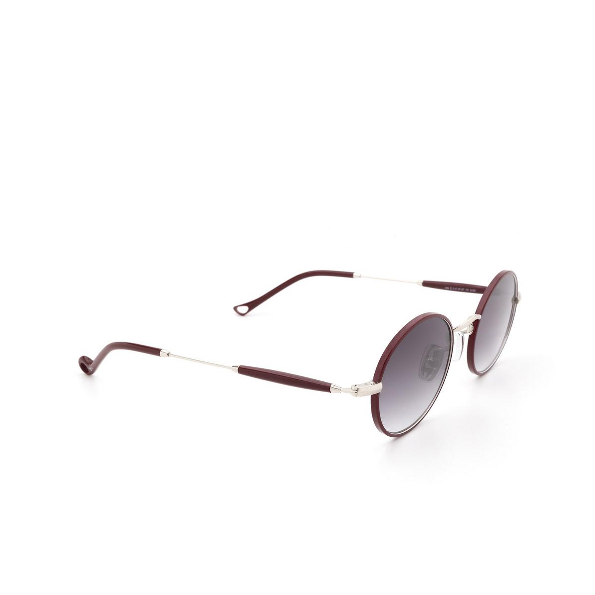 Eyepetizer® Round Sunglasses: Un color Bordeaux C.1-C-P-27 - three-quarters view.