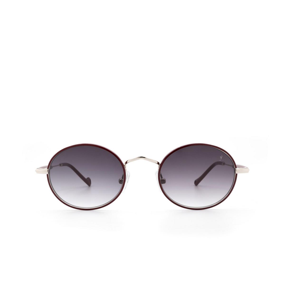 Eyepetizer® Round Sunglasses: Un color Bordeaux C.1-C-P-27 - front view.