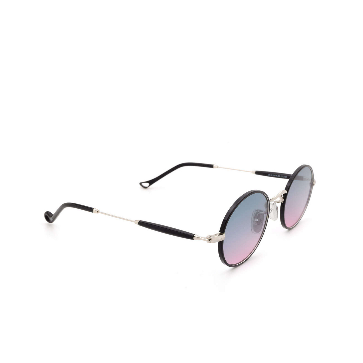 Eyepetizer® Round Sunglasses: Un color Black C.1-F-A-20 - three-quarters view.