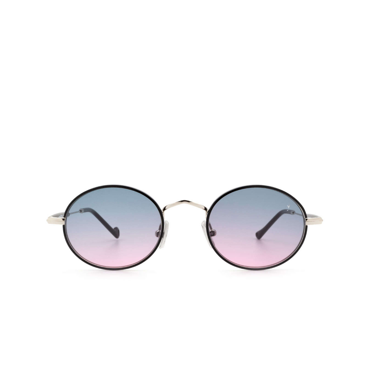 Eyepetizer® Round Sunglasses: Un color Black C.1-F-A-20 - front view.