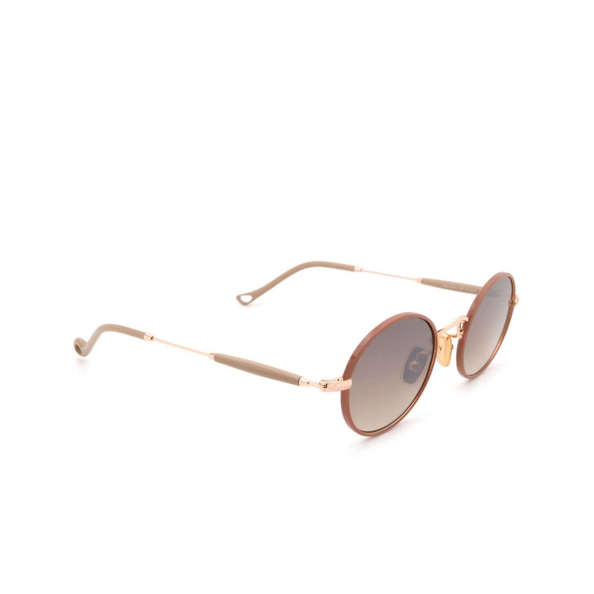 Eyepetizer® Round Sunglasses: Un color Pinkish Brown C.9-E-J-18F - three-quarters view.