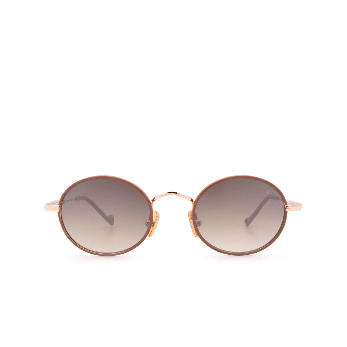 Eyepetizer® Round Sunglasses: Un color Pinkish Brown C.9-E-J-18F - front view.