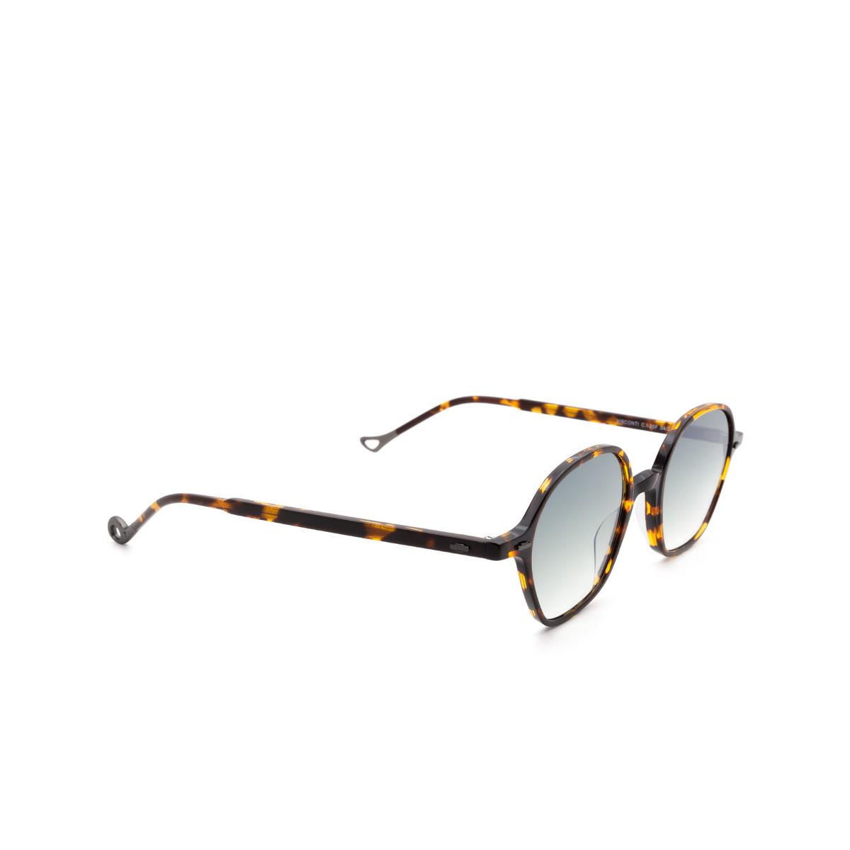 Eyepetizer® Irregular Sunglasses: Visconti color Dark Havana C.I-25F - three-quarters view.