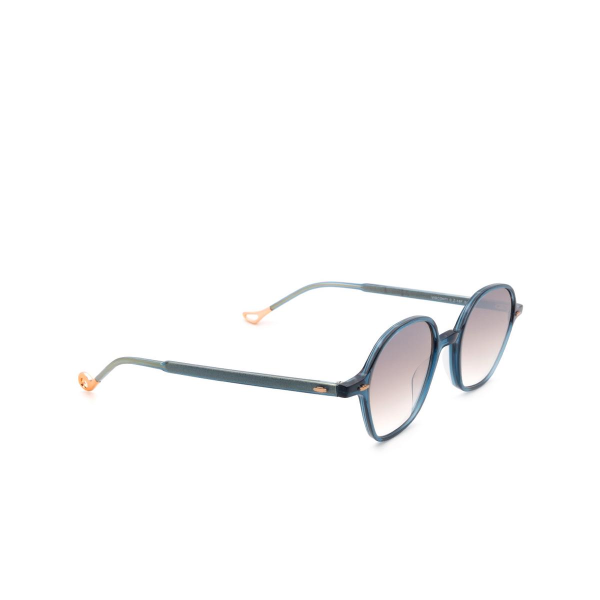 Eyepetizer® Irregular Sunglasses: Visconti color Blue C.Z-18F - three-quarters view.
