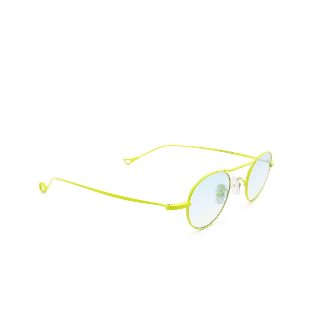 Eyepetizer® Round Sunglasses: Yves color Green Lime C.12-23F - three-quarters view.