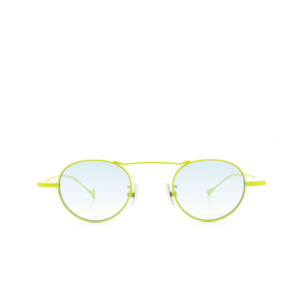 Eyepetizer® Round Sunglasses: Yves color Green Lime C.12-23F - front view.
