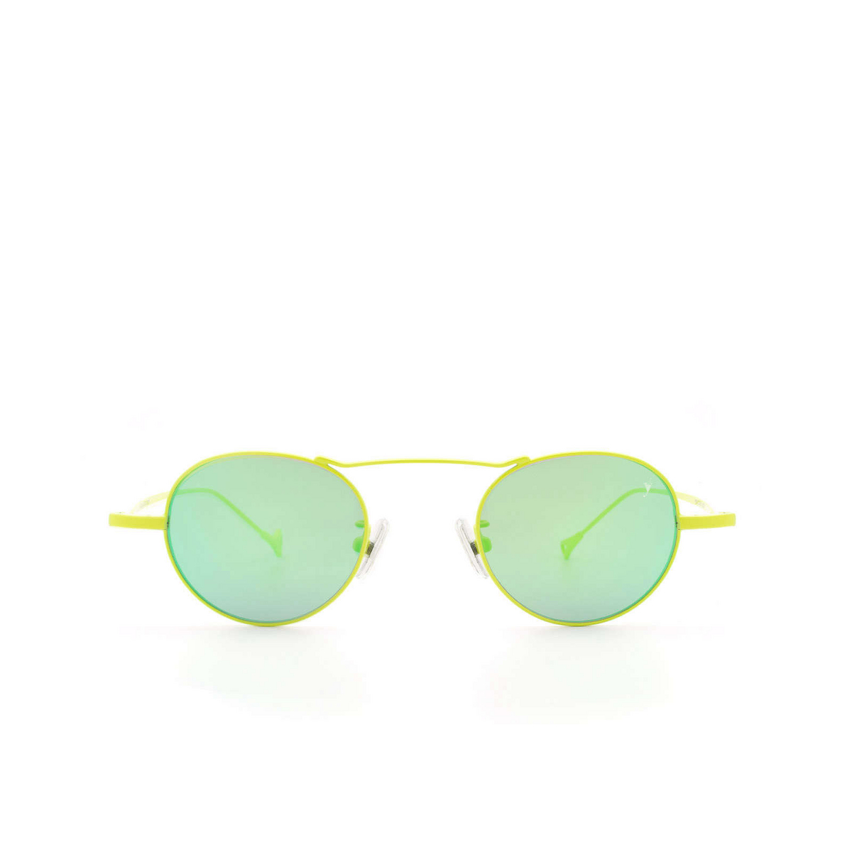 Eyepetizer® Round Sunglasses: Yves color Green Lime C.12-36 - front view.