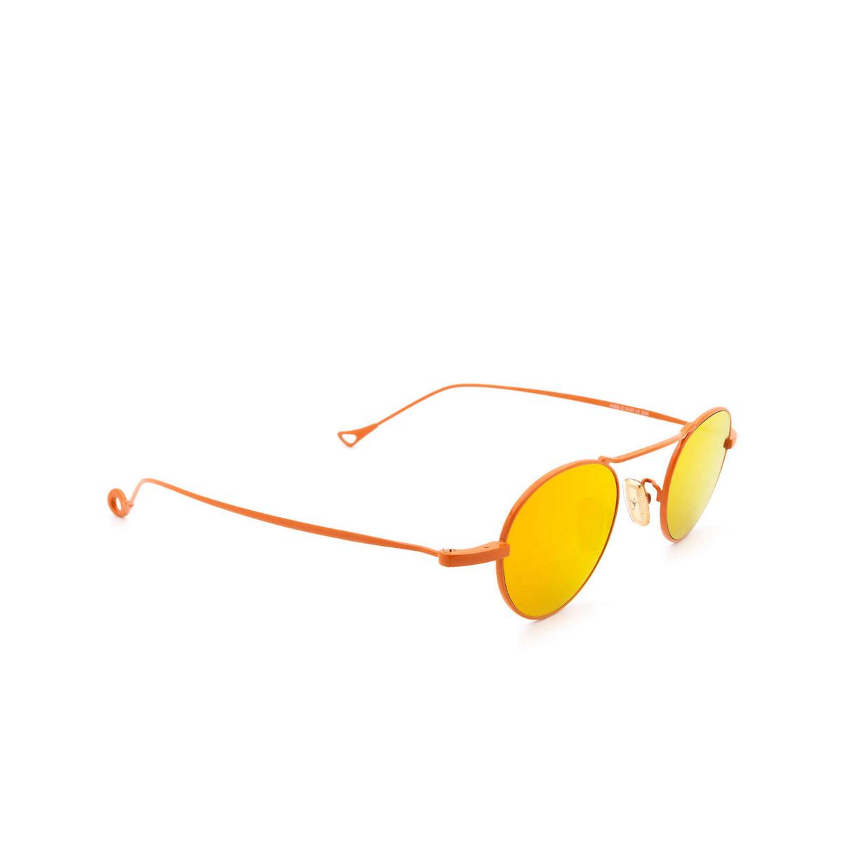 Eyepetizer® Round Sunglasses: Yves color Orange C.13-37 - three-quarters view.