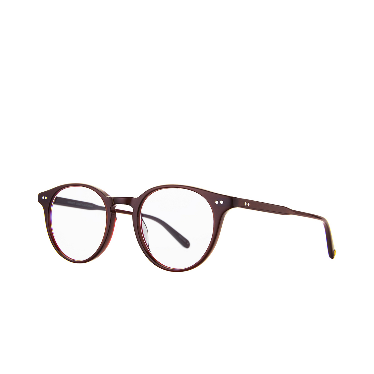 Garrett Leight® Round Eyeglasses: Clune color Barolo Bar - three-quarters view.