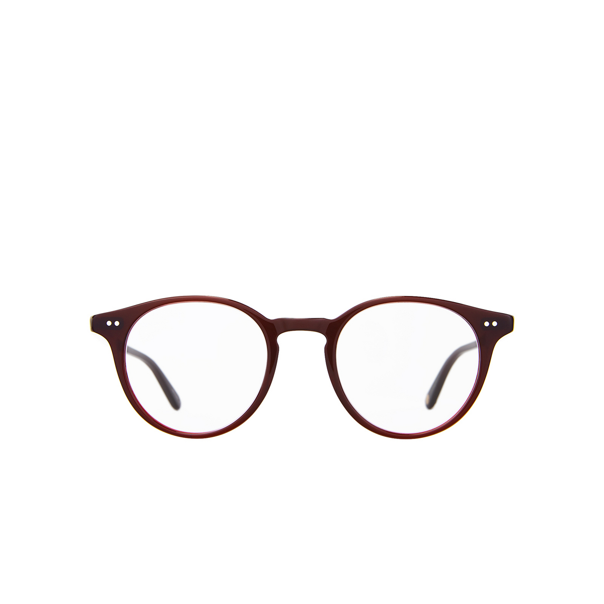 Garrett Leight® Round Eyeglasses: Clune color Barolo Bar - front view.