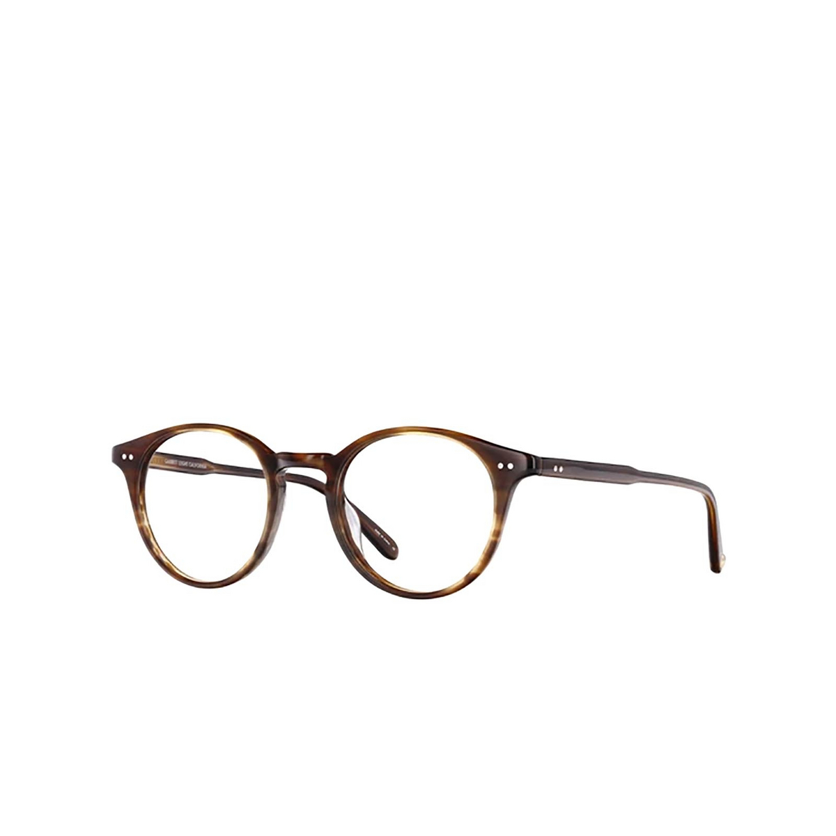 Garrett Leight® Round Eyeglasses: Clune color Brandy Tortoise Brt - three-quarters view.