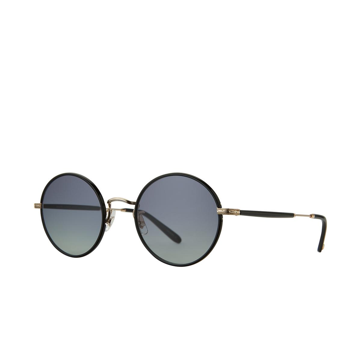 Garrett Leight® Round Sunglasses: Fonda Sun color Black - Gold Bk-g-bk/swpg - three-quarters view.
