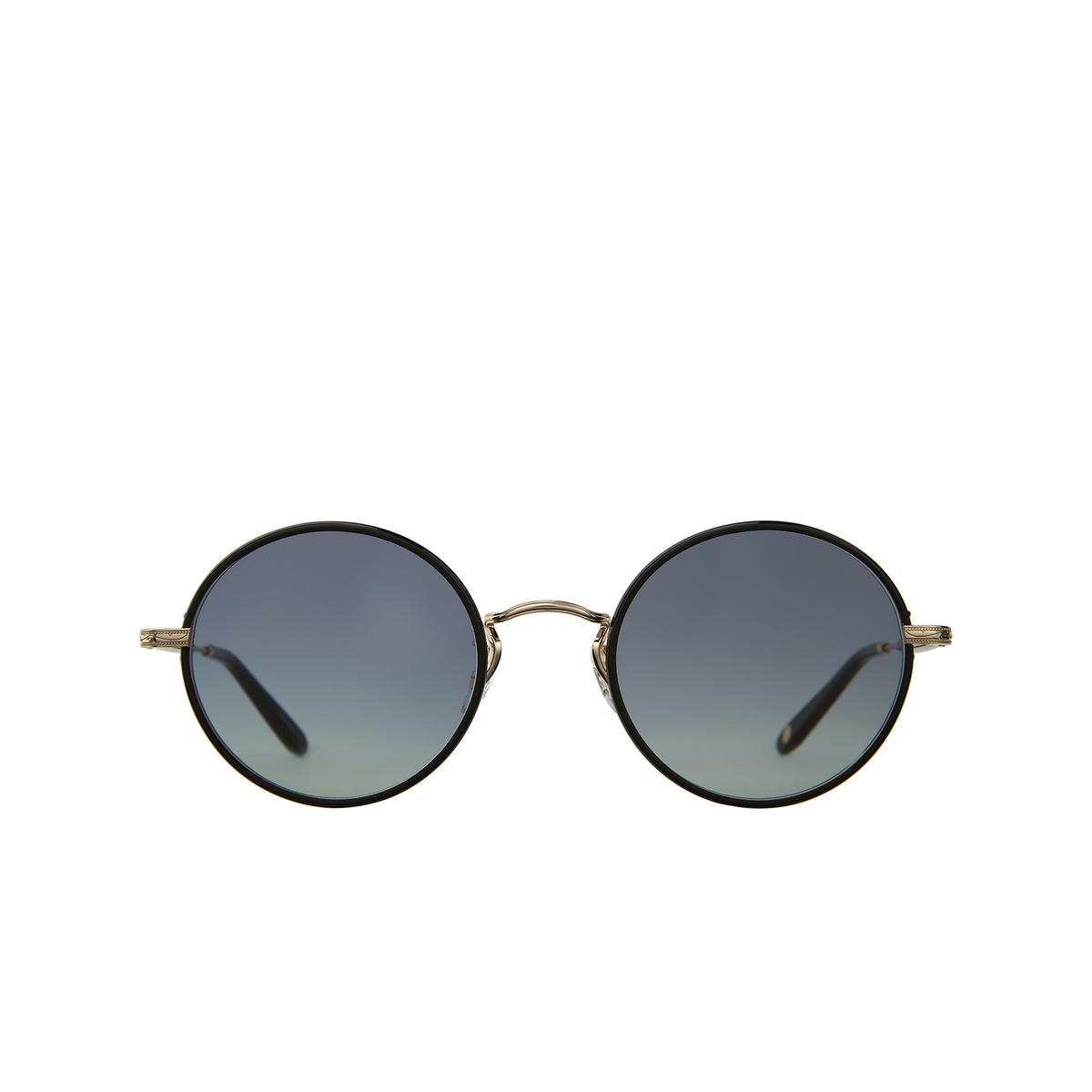 Garrett Leight® Round Sunglasses: Fonda Sun color Black - Gold Bk-g-bk/swpg - front view.