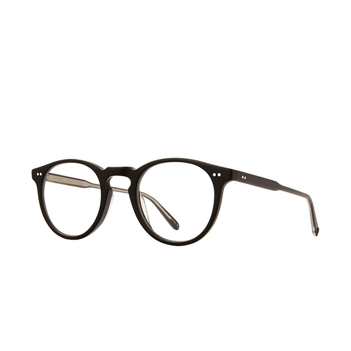 Garrett Leight® Round Eyeglasses: Glencoe color Matte Black Mbk - three-quarters view.