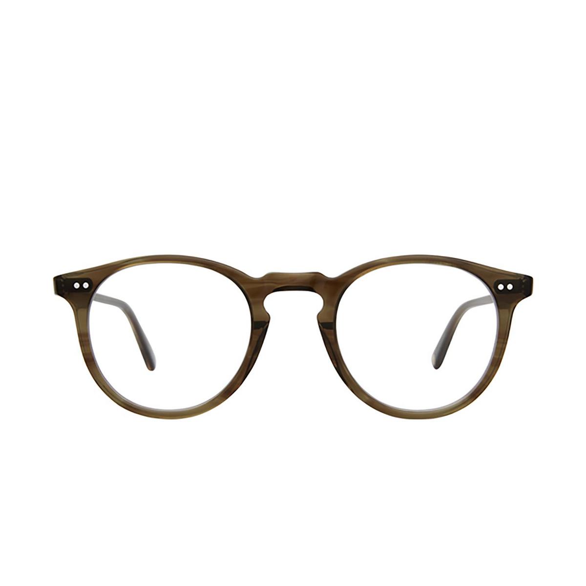 Garrett Leight® Round Eyeglasses: Glencoe color Olive Tortoise Ot - front view.