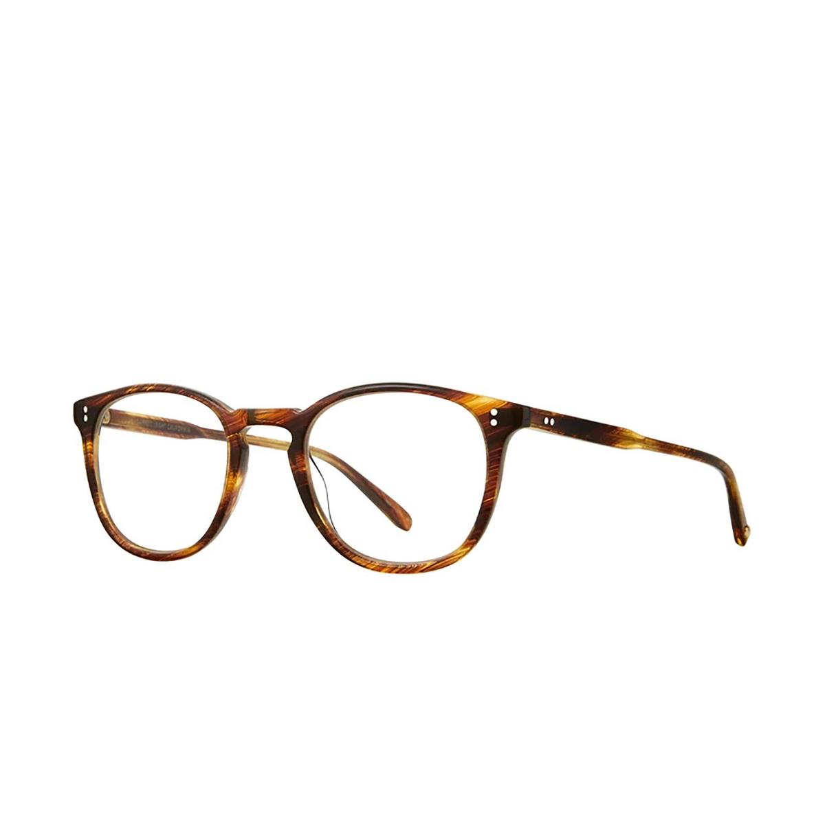 Garrett Leight® Round Eyeglasses: Kinney color Chestnut Cn - three-quarters view.