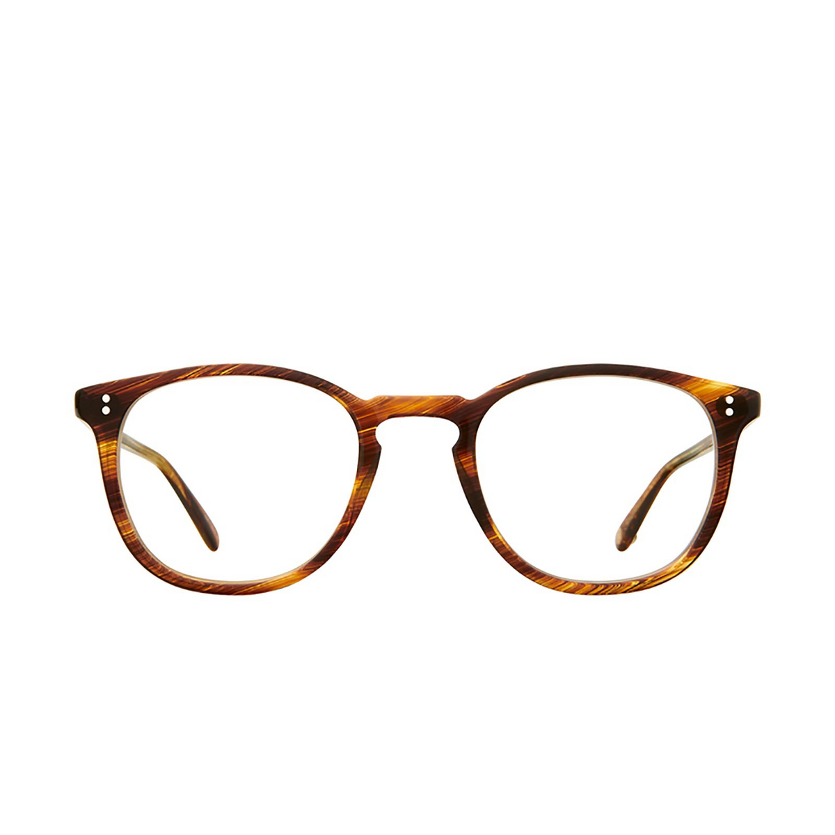 Garrett Leight® Round Eyeglasses: Kinney color Chestnut Cn - front view.