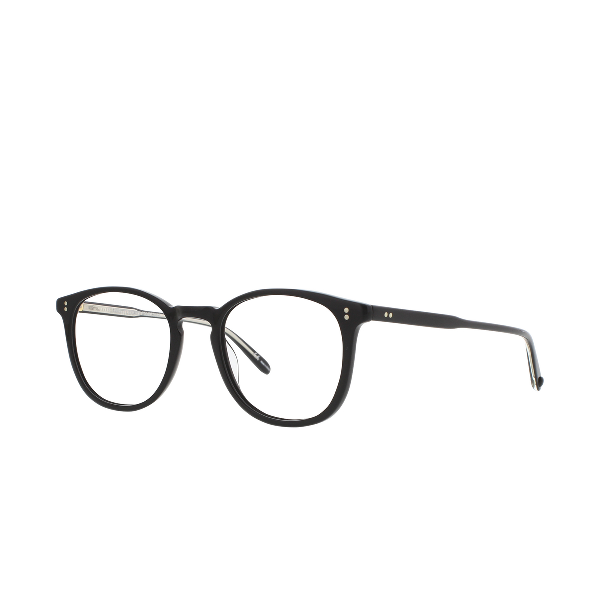 Garrett Leight® Round Eyeglasses: Kinney color Matte Black Mbk - three-quarters view.