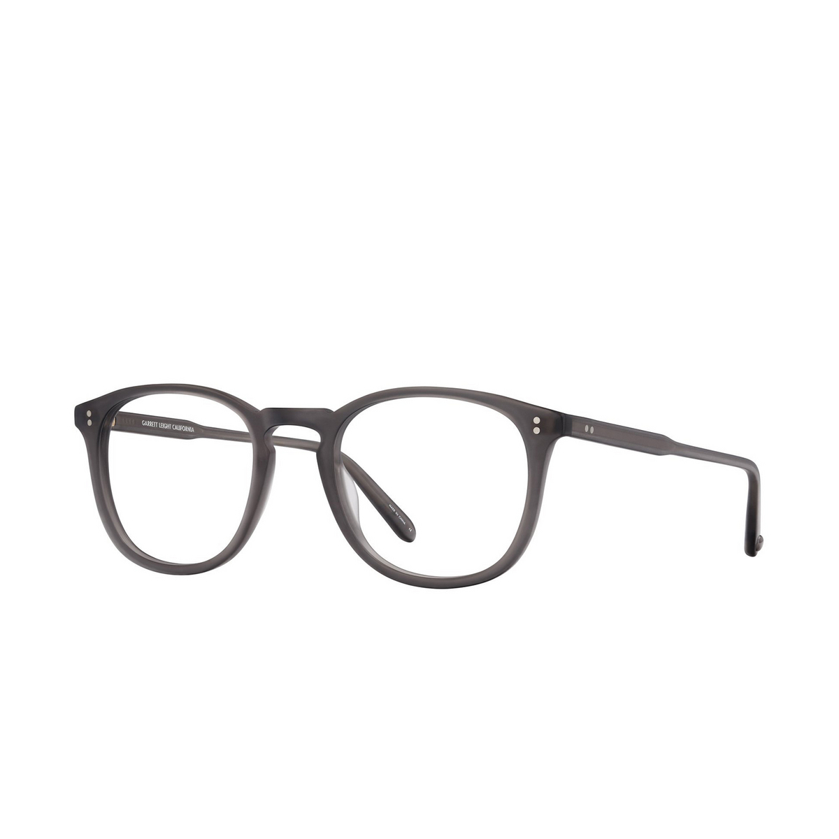 Garrett Leight® Round Eyeglasses: Kinney color Matte Grey Crystal Mgcr - three-quarters view.