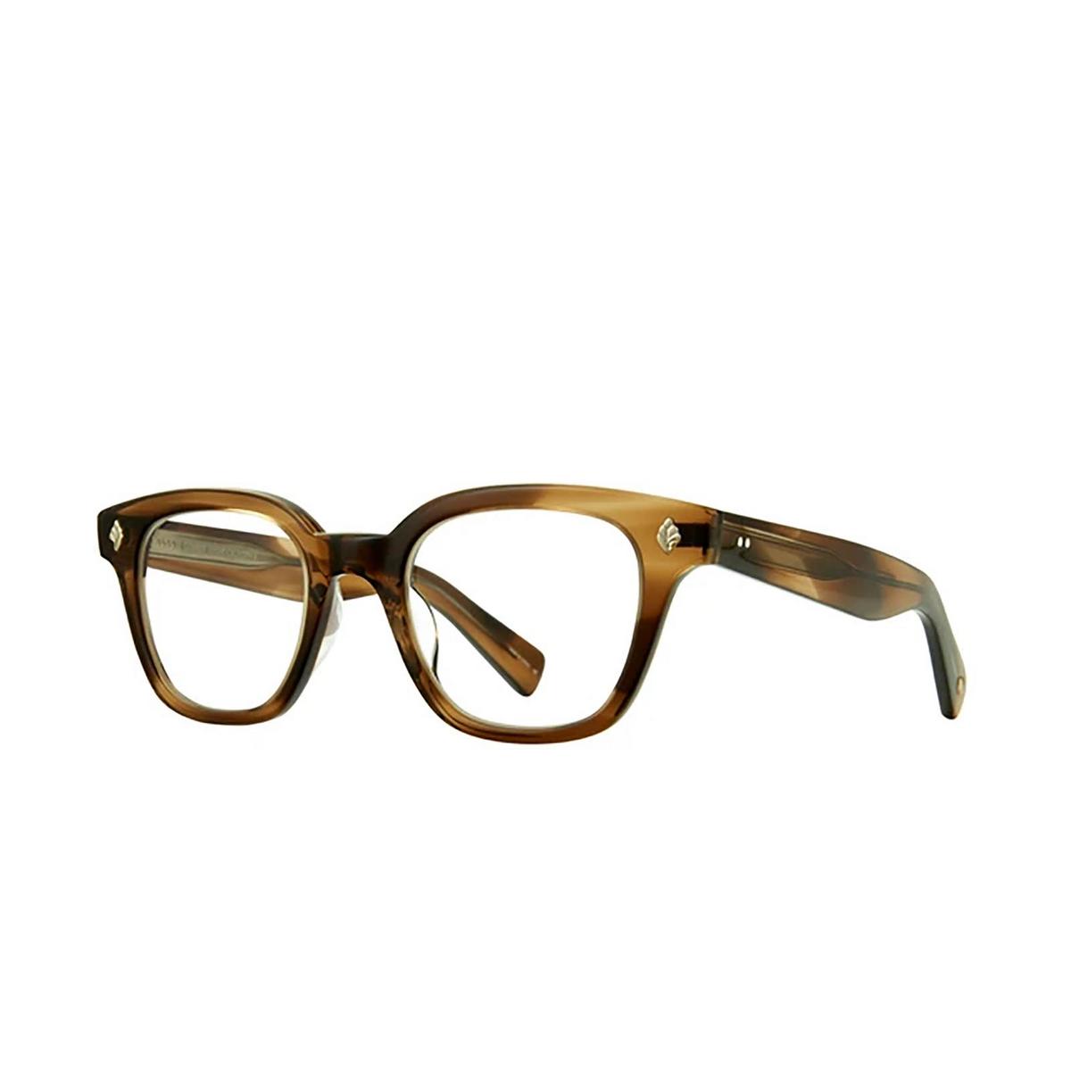 Garrett Leight® Square Eyeglasses: Naples color Khaki Tortoise Kht - three-quarters view.