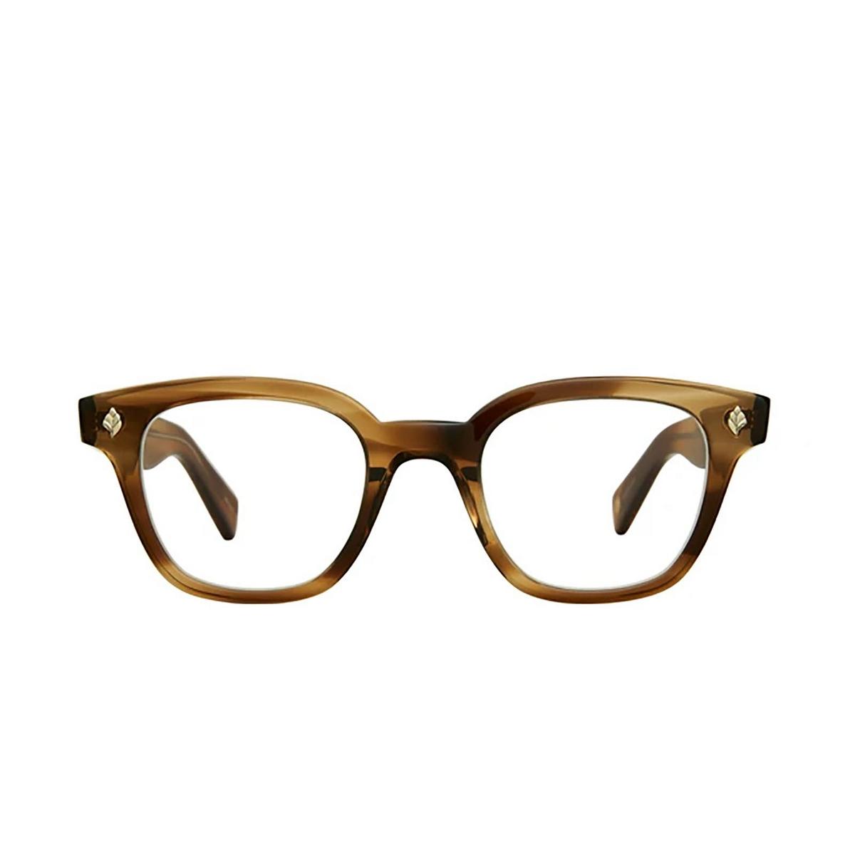 Garrett Leight® Square Eyeglasses: Naples color Khaki Tortoise Kht - front view.