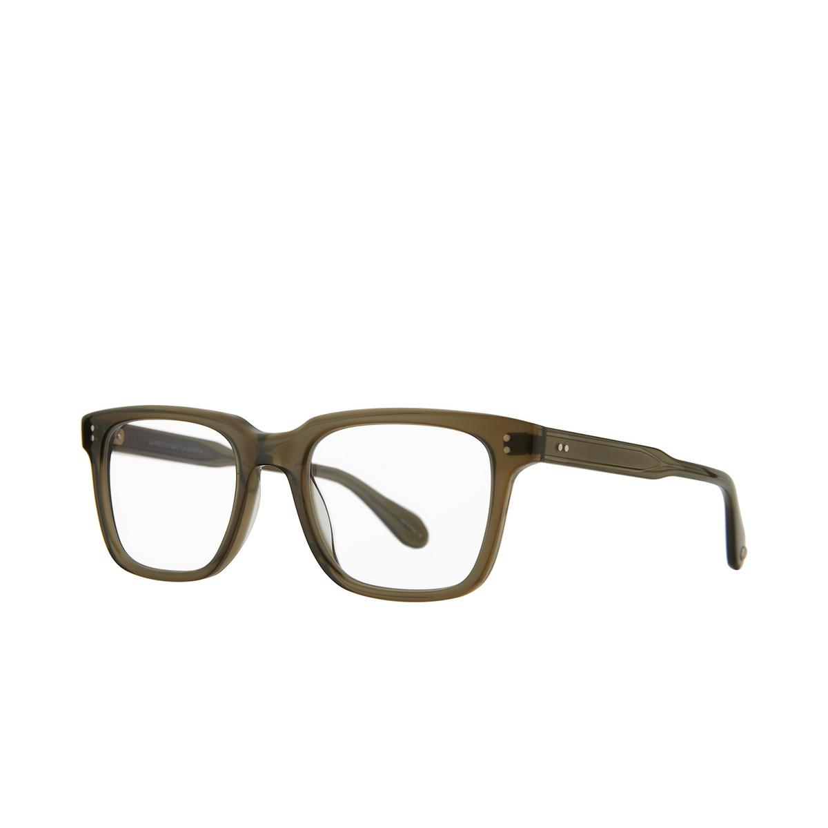 Garrett Leight® Square Eyeglasses: Palladium color Olio - three-quarters view.