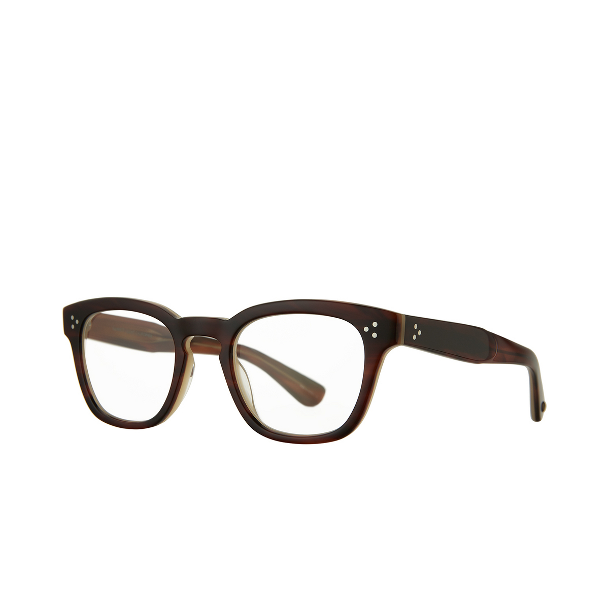 Garrett Leight® Square Eyeglasses: Regent color Whiskey Tortoise Wht - three-quarters view.